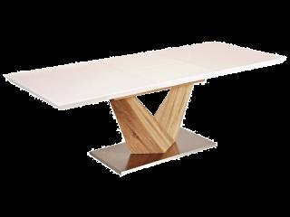 Стол раскладной лакированный Signal Alaras 160x90(220) Дуб Сонома Белый