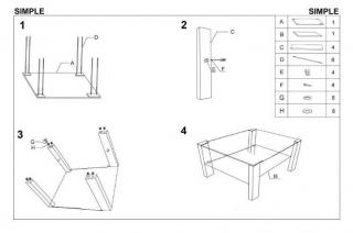 SIMPLE H столик kwadrat белый HALMAR