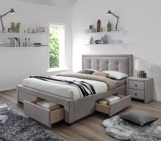 Двуспальная кровать Halmar EVORA бежевый