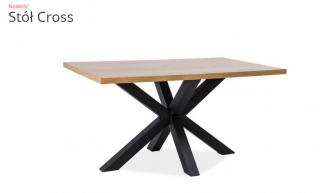 Стол обеденный Signal Cross 180x90 Дуб (шпон) Черный