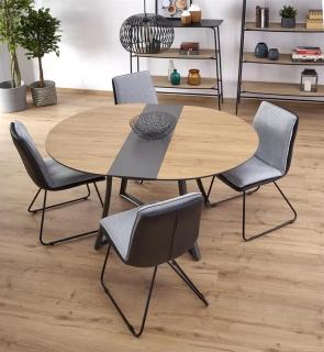 Обеденный стол раскладной Halmar MORETTI 118-148-118-76 Дуб золотой-черный
