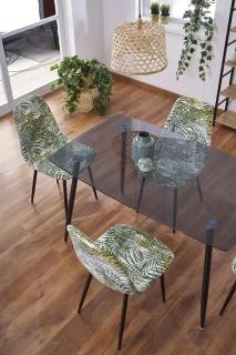 Стеклянный стол обеденный HALMAR NEXT 130-80-75 см дымчатый-черный