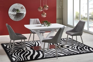 Обеденный стол раскладной Halmar PALERMO 140-180-80-75 см Белый