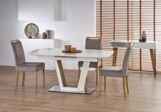 Обеденный стол раскладной Halmar VALETTI 160-200-90-76 белый-дуб золотой