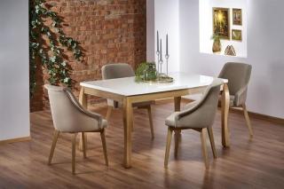 Обеденный стол раскладной Halmar DONOVAN 140-210-90-76 см белый -дуб натуральный