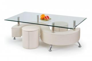Журнальный столик Nina 3 белый + 2 пуфа