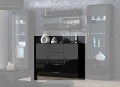 Комод Soho Uni черный-черный глянец