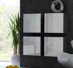 VIGO пенал навесной квадратный серый-белый глянец CAMA