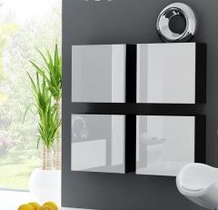 VIGO пенал навесной квадратный черный-белый глянец CAMA