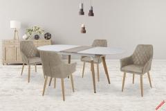 Обеденный стол CALIBER Halmar 160-200-90-76 cm Белый Дуб Сан Ремо