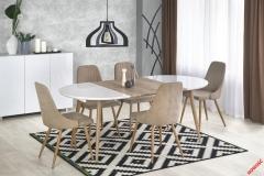 Обеденный стол EDWARD Halmar 120-200-100-75 cm Белый-Дуб Сан Ремо